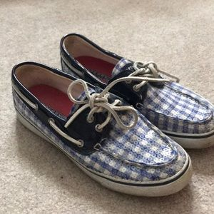 Sperrys checkerboard with sequins